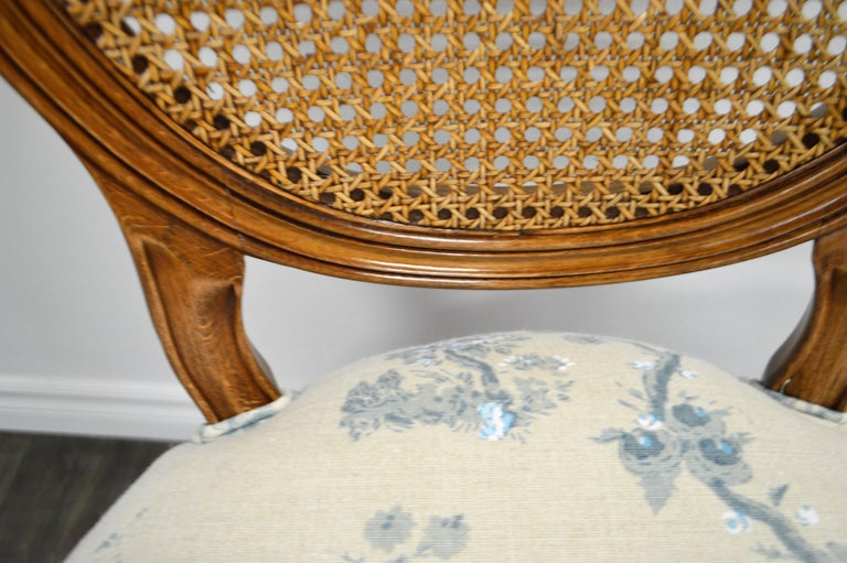 Set of 6 Louis XVI Style Oval and Caned Back Dining Chairs Seat in Printed Linen In New Condition For Sale In Oakville, ON