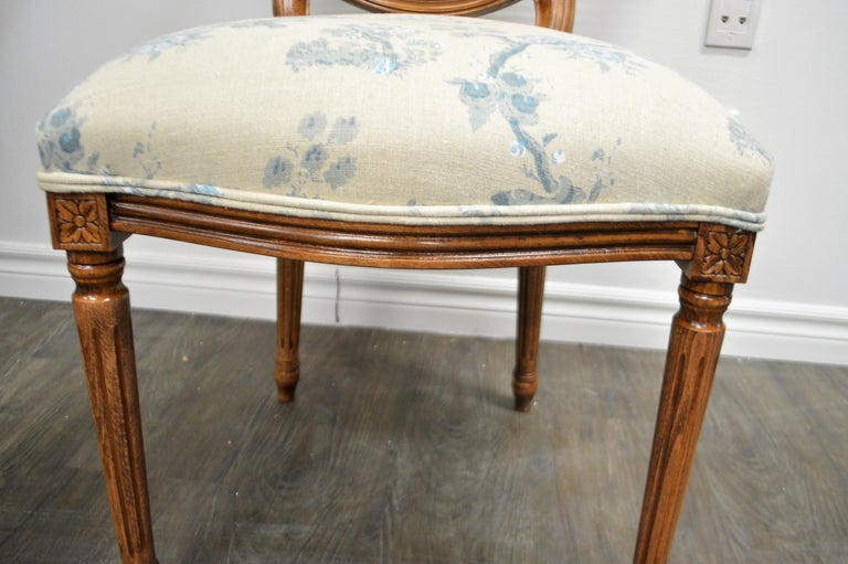 Set of 6 Louis XVI Style Oval and Caned Back Dining Chairs Seat in Printed Linen For Sale 2