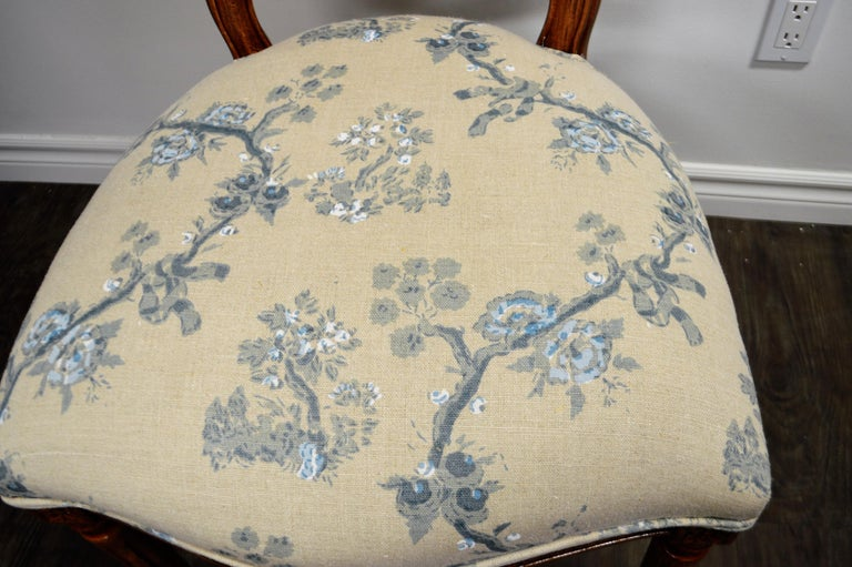 Set of 6 Louis XVI Style Oval and Caned Back Dining Chairs Seat in Printed Linen For Sale 3