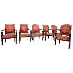 Set of 6 Mahogany Charles X Armchairs