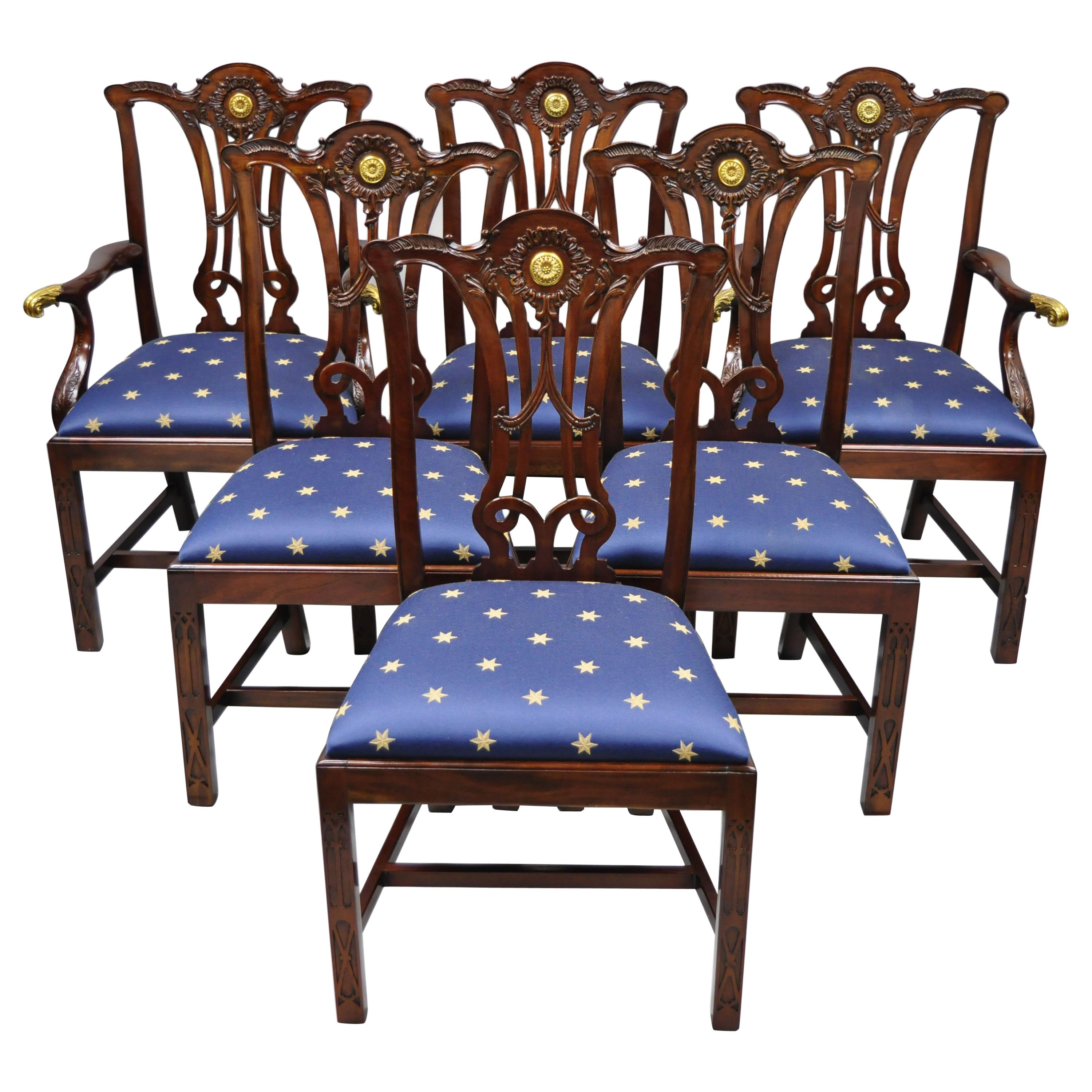Set of 6 Maitland Smith Mahogany Chippendale Style Dining Chairs w/ Brass Ormolu