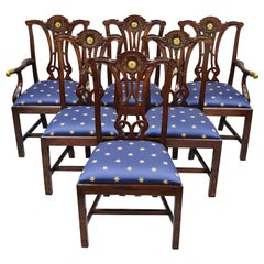 Set of 6 Maitland Smith Mahogany Chippendale Style Dining Chairs