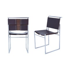 Set of 6 Marcel Breuer B40 Brown Leather and Chrome Corset Dining Chairs