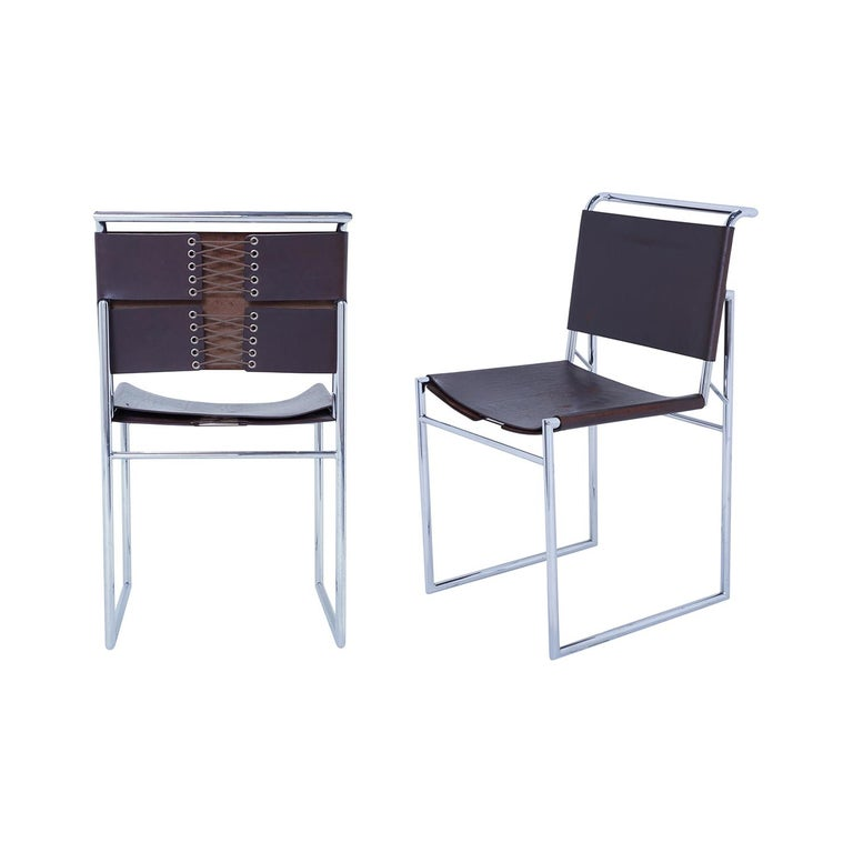 Set of 6 Marcel Breuer B40 Brown Leather and Chrome Corset Dining Chairs For Sale