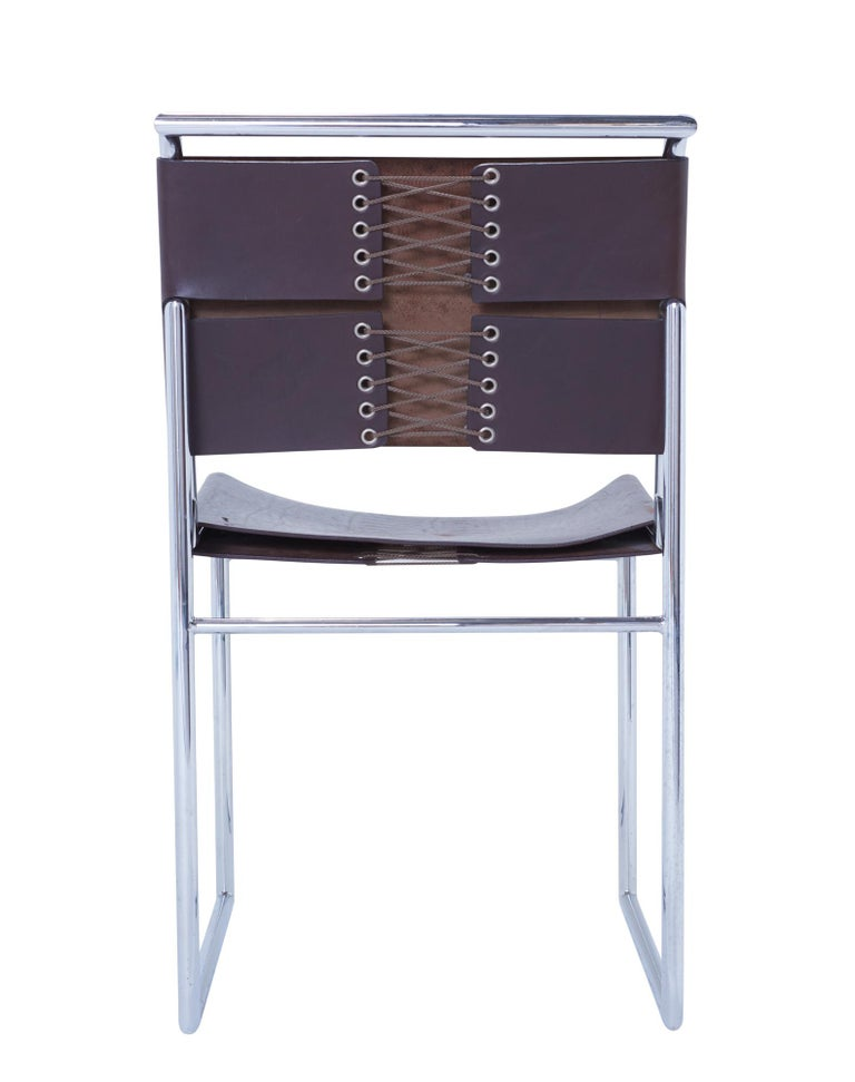 Bauhaus Set of 6 Marcel Breuer B40 Brown Leather and Chrome Corset Dining Chairs For Sale