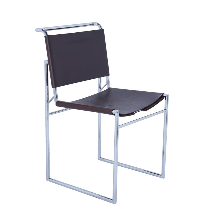 Italian Set of 6 Marcel Breuer B40 Brown Leather and Chrome Corset Dining Chairs For Sale