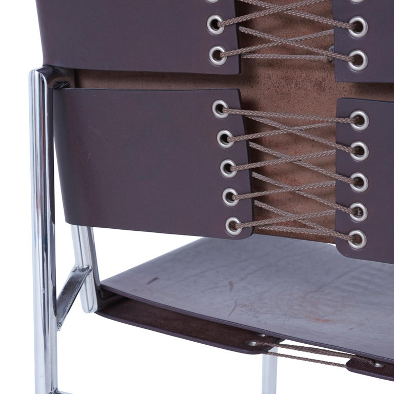 20th Century Set of 6 Marcel Breuer B40 Brown Leather and Chrome Corset Dining Chairs For Sale