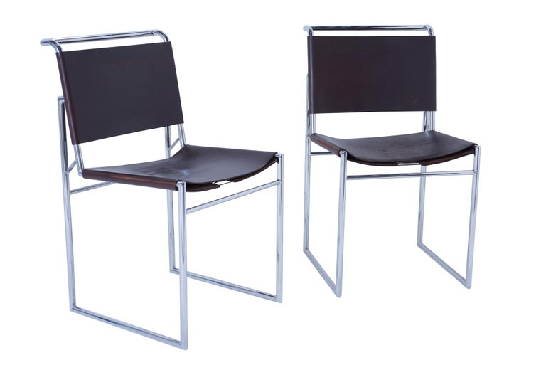 Set of 6 Marcel Breuer B40 Brown Leather and Chrome Corset Dining Chairs For Sale 2