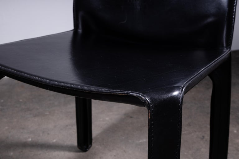 20th Century Set of 6 Mario Bellini CAB 412 Chairs in Black Leather for Cassina For Sale