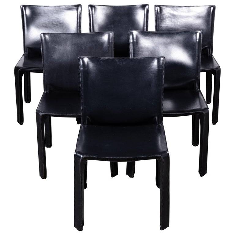 Set of 6 Mario Bellini CAB 412 Chairs in Black Leather for Cassina For Sale
