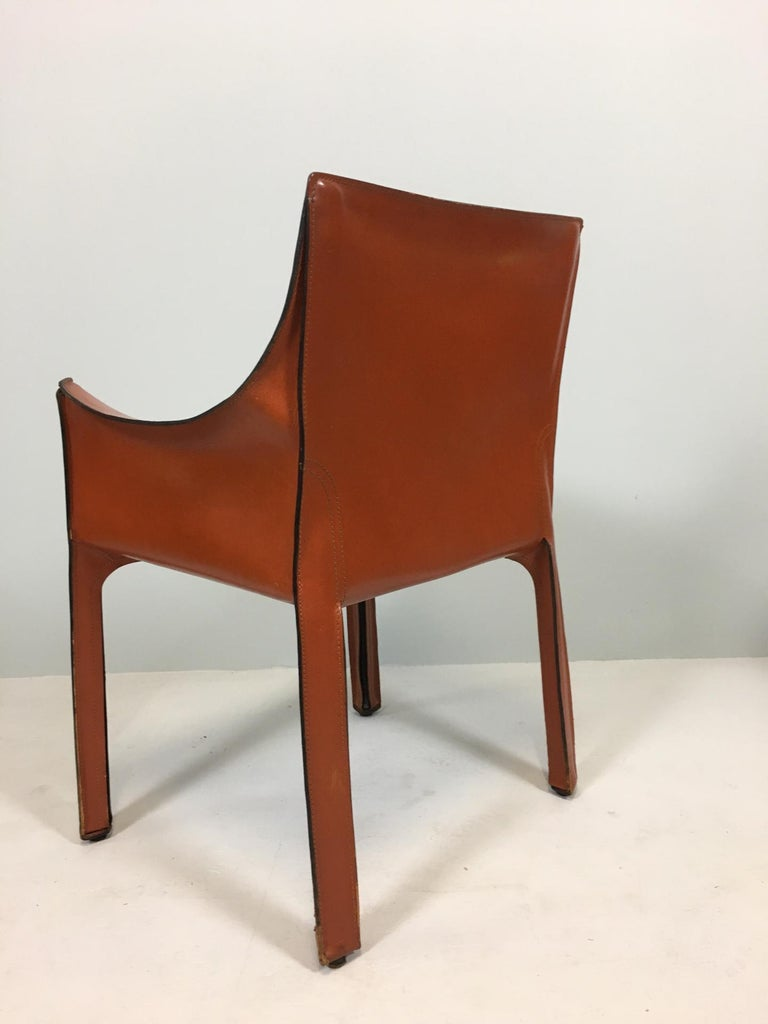 Mid-Century Modern Set of 6 Mario Bellini Cab 413 Armchairs by Cassina For Sale