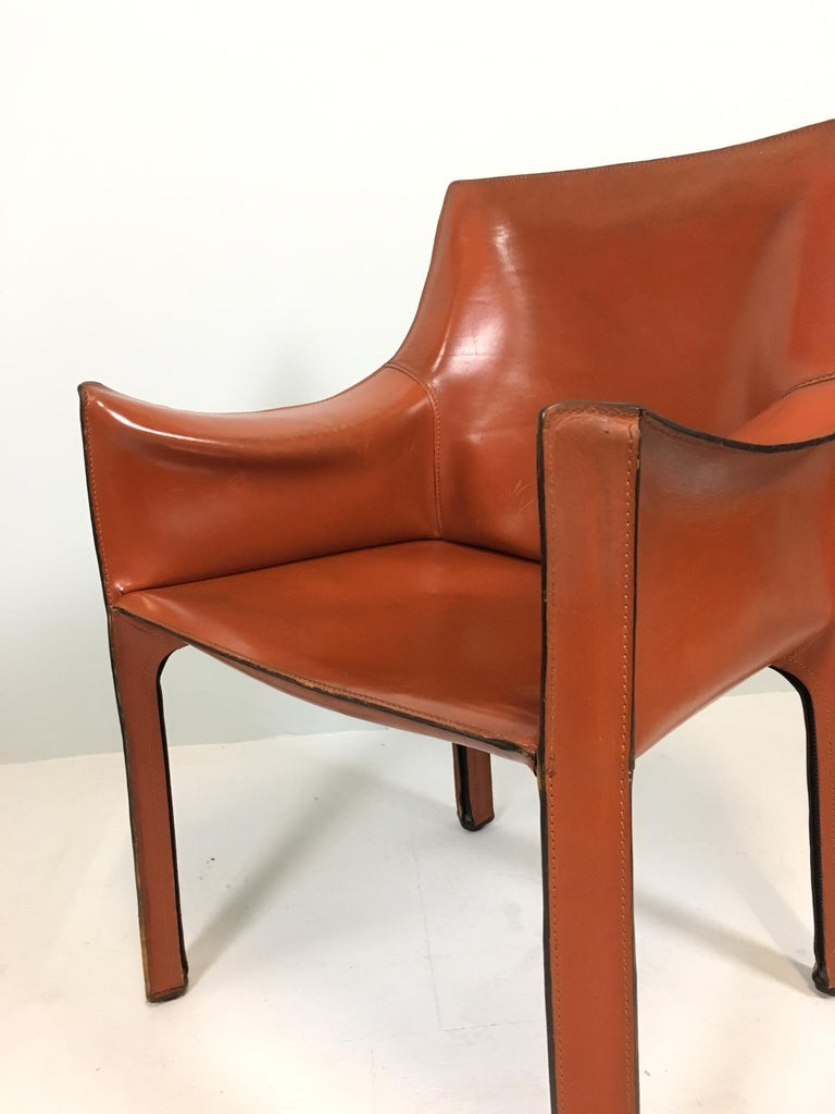 Italian Set of 6 Mario Bellini Cab 413 Armchairs by Cassina For Sale