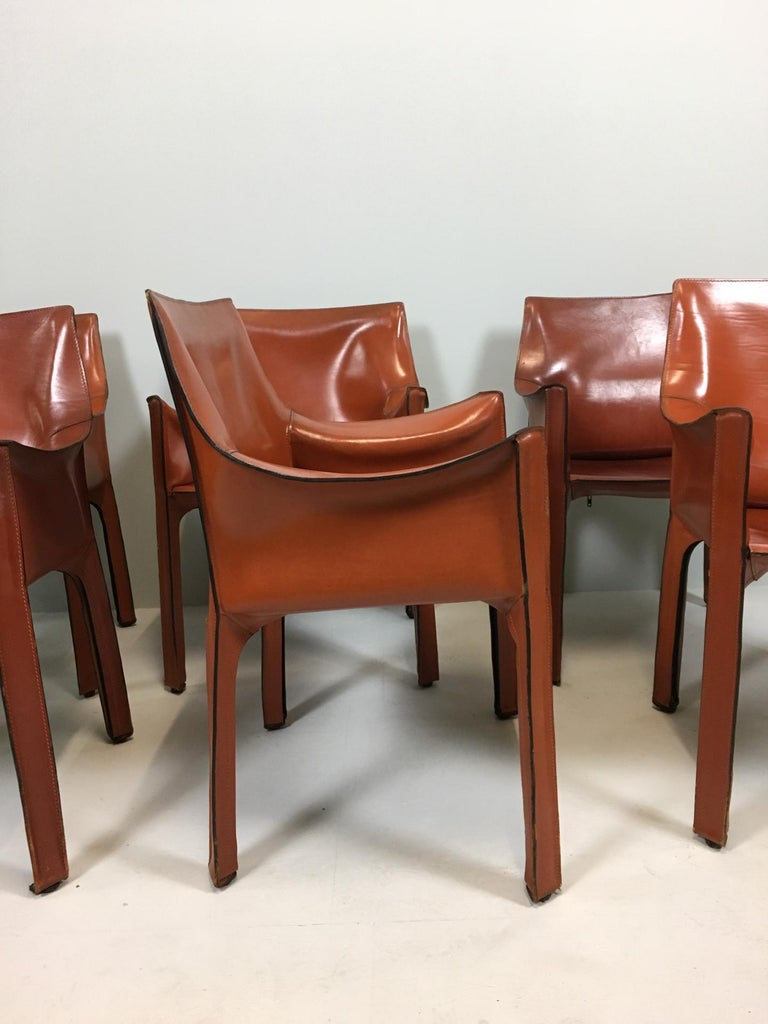 Leather Set of 6 Mario Bellini Cab 413 Armchairs by Cassina For Sale