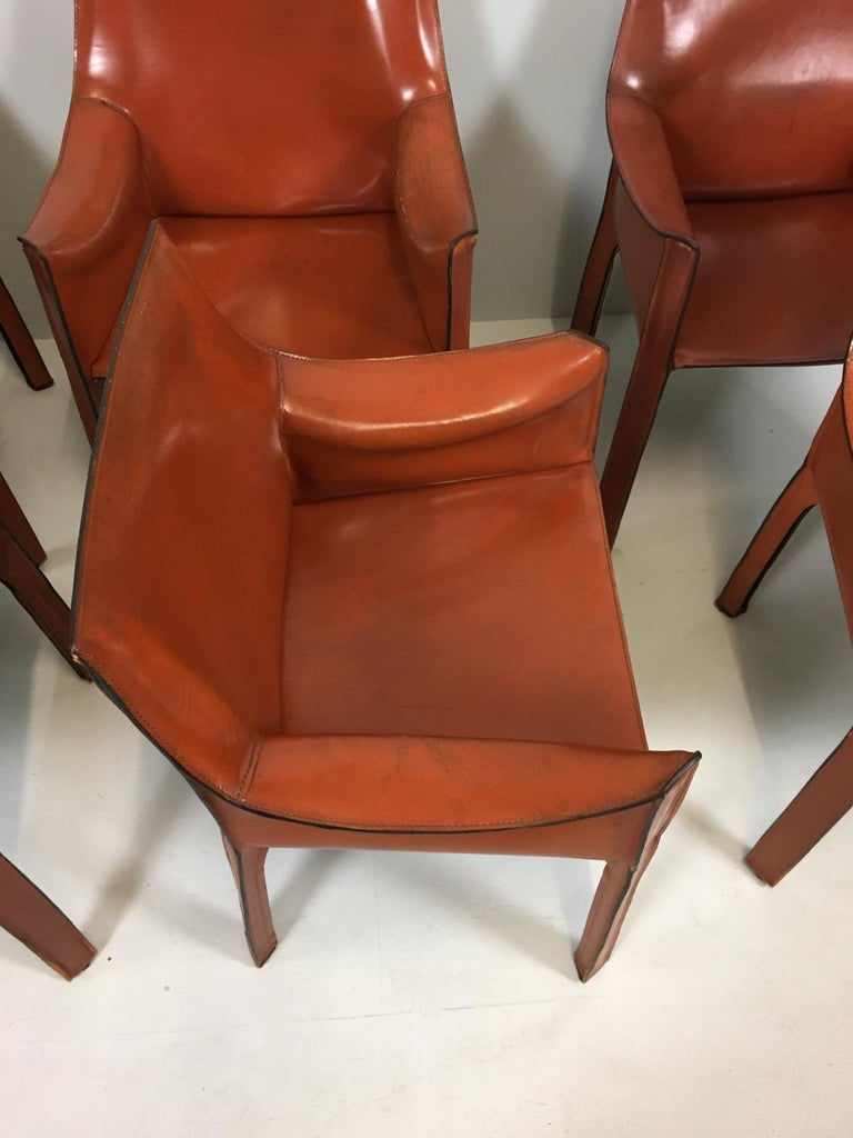 Set of 6 Mario Bellini Cab 413 Armchairs by Cassina For Sale 1
