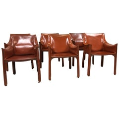 Set of 6 Mario Bellini Cab 413 Armchairs by Cassina