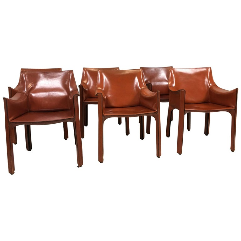 Set of 6 Mario Bellini Cab 413 Armchairs by Cassina For Sale