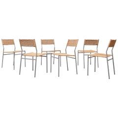 Set of 6 Martin Visser Chrome and Wicker Dining Chair Set
