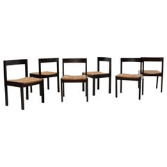 Set of 6 Martin Visser Dining Chairs with Rush Seats