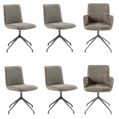 Set of 6 Grey Nabuk Dining Chairs by Claudio Bellini
