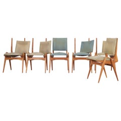 Set of 6 Maurice Pré Dining Room Chairs, France, 1950s