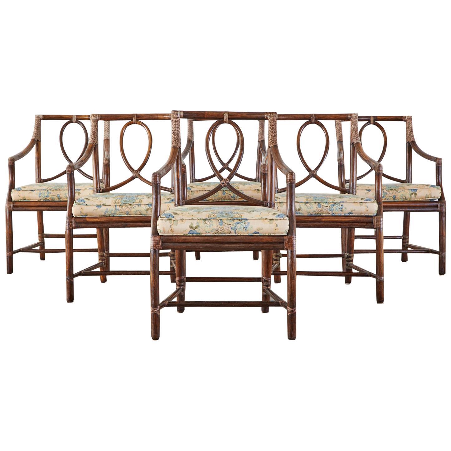 Set of Six McGuire Organic Modern Rattan Dining Armchairs