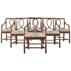 Set of Six McGuire Organic Modern Rattan Dining Armchairs