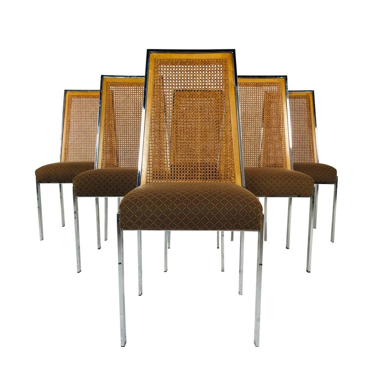 Set Of 6 MCM Vintage Milo Baughman Dining Chairs For Sale