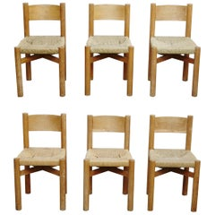 Set of 6 Meribel Chairs by Charlotte Perriand, circa 1950