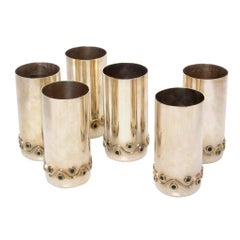 Set of 6 Mexican Mid-Century Modern Los Castillo Silverplate Vases