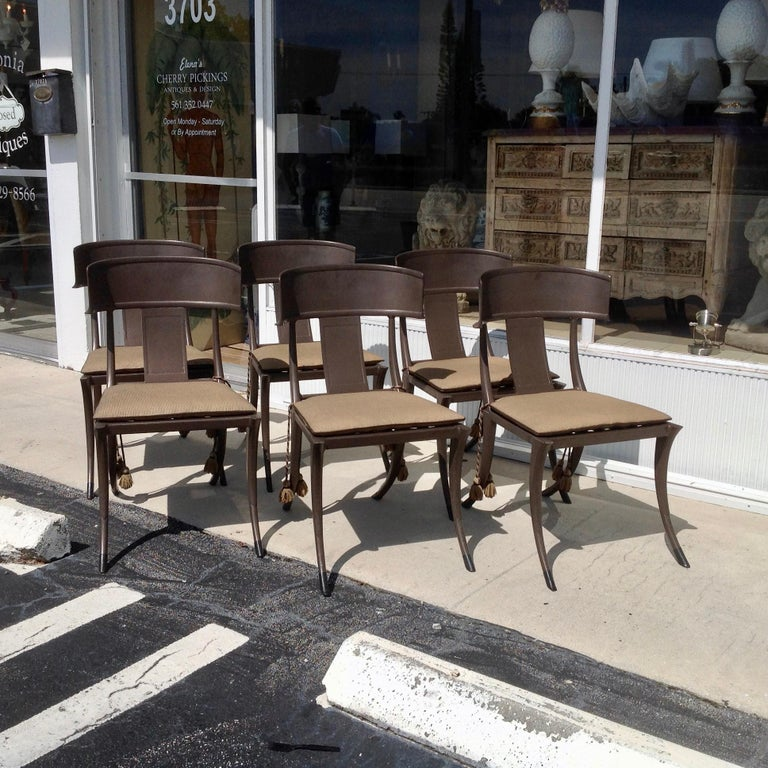 American Set of 6 Michael Taylor Klismos Chairs For Sale
