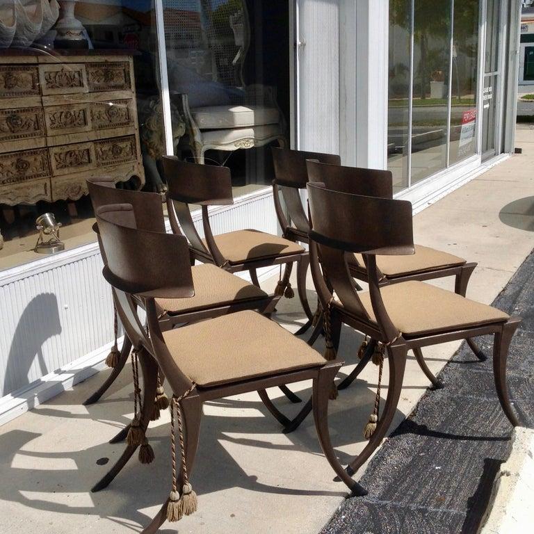Cast Set of 6 Michael Taylor Klismos Chairs For Sale