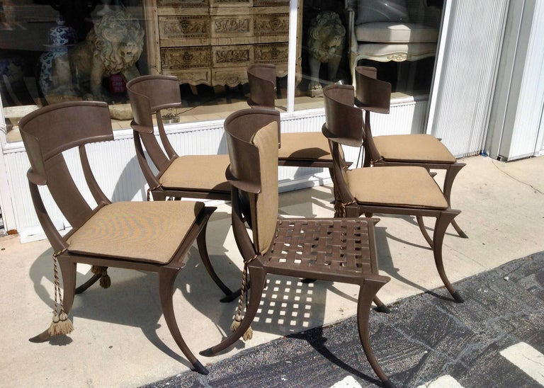 Set of 6 Michael Taylor Klismos Chairs In Good Condition For Sale In West Palm Beach, FL
