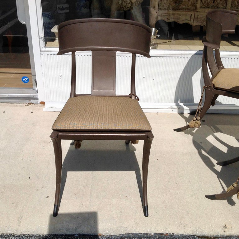 Aluminum Set of 6 Michael Taylor Klismos Chairs For Sale