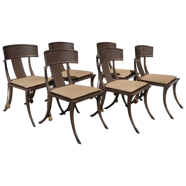 Set of 6 Michael Taylor Klismos Chairs For Sale