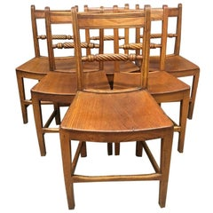 "Set of 6 Mid-19th Century English Elm ""Suffolk"" Dining Chairs in Good Condition"