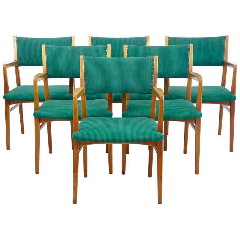 Set of 6 Mid-20th Century Scandinavian Armchairs For Sale