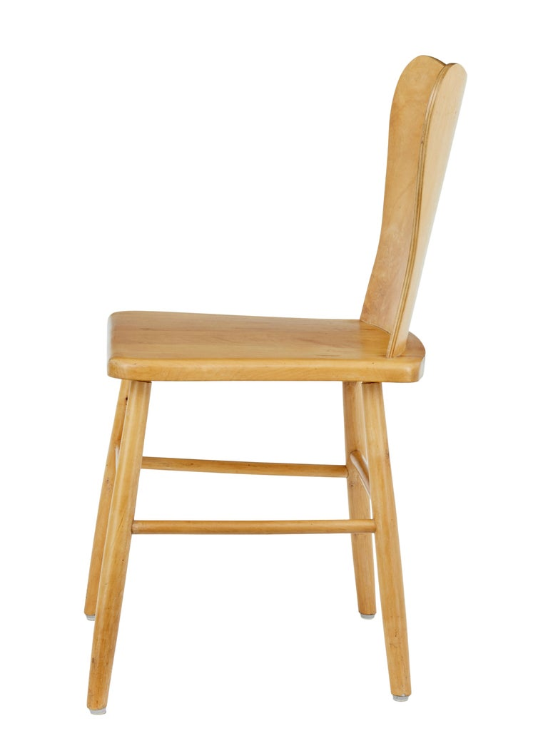 Scandinavian Modern Set of 6 Mid-20th Century Scandinavian Pine Dining Chairs For Sale
