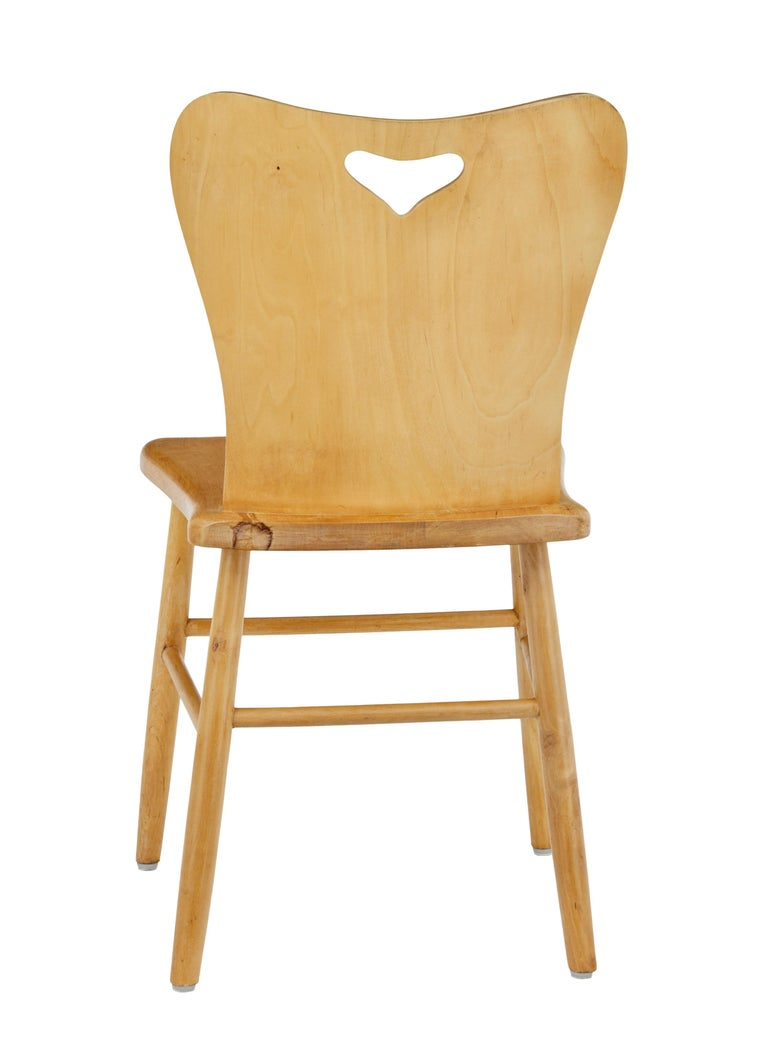 Swedish Set of 6 Mid-20th Century Scandinavian Pine Dining Chairs For Sale