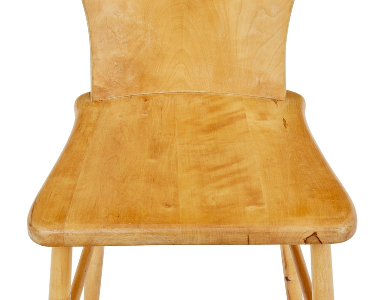 Woodwork Set of 6 Mid-20th Century Scandinavian Pine Dining Chairs For Sale