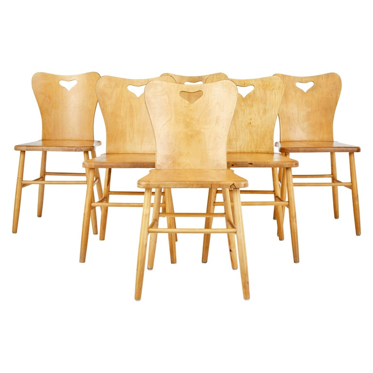 Set of 6 Mid-20th Century Scandinavian Pine Dining Chairs For Sale