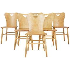 Set of 6 Mid-20th Century Scandinavian Pine Dining Chairs