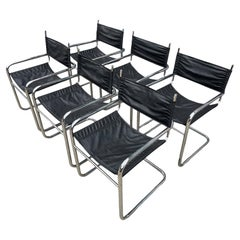 Set of 6 Mid Century Cantilevered Chrome Dining Arm Chairs Style of Mart Stam