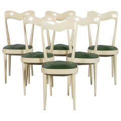 Set of 6 Mid Century Dining Chairs with Green Seats