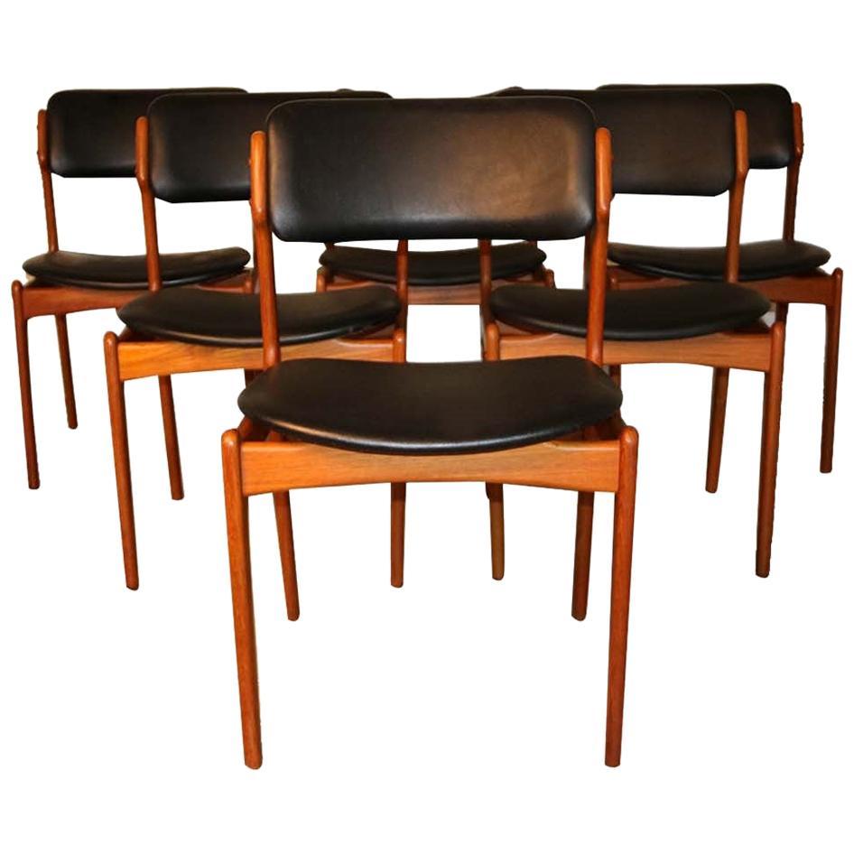 Set of 6 Mid Century Erik Buch Model 49 Teak Dining Chairs