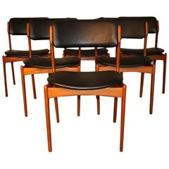 Set of 6 Mid Century Erik Buch Model 49 Teak Dining Chairs