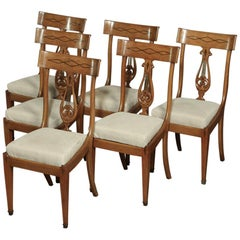 Set of 6 Midcentury French Directoire Style Inlaid Dining Chairs