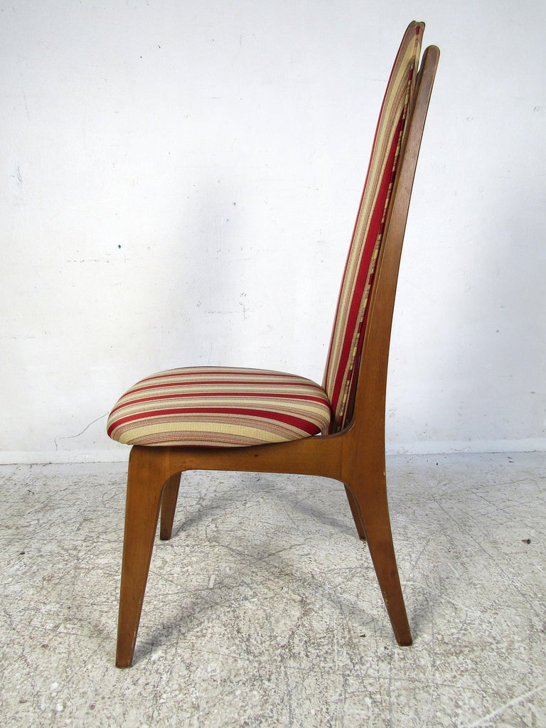 Set of 6 Midcentury Highback Dining Chairs Attributed to Adrian Pearsall In Good Condition For Sale In Brooklyn, NY