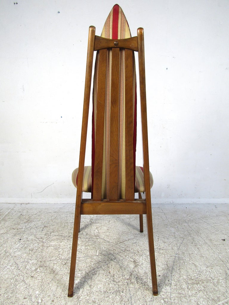 Upholstery Set of 6 Midcentury Highback Dining Chairs Attributed to Adrian Pearsall For Sale