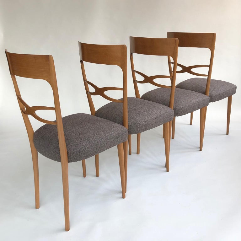 Set of 6 Midcentury Italian Dining Chairs, 1950s, Blond Wood, Grey Upholstery For Sale at 1stdibs