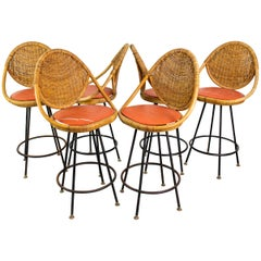 Set of 6 Mid-Century Modern Bar Stools by Danny Ho Fong, US, 1960s